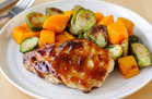 Hungry Girl's Healthy Apricot Chicken with Squash & Brussels Sprouts Recipe