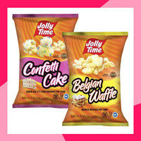 Jolly Time Ready-to-Eat Popcorn: Confetti Cake, Belgian Waffle, Snickerdoodle, and Sea Salted Caramel