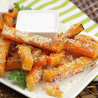 HG Healthy French Fry Recipe: Garlic-Parm Sweet Faux-tato Fries