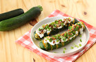 Hungry Girl's Healthy Fully Loaded Hasselback Zucchini Recipe