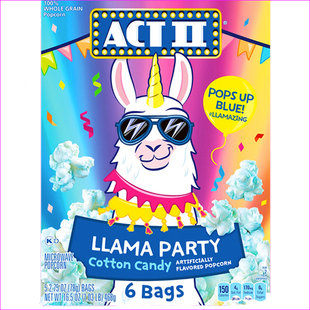 ACT II Llama Party Cotton Candy Artificially Flavored Popcorn