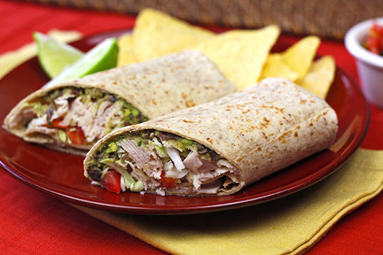 Spicy Black Bean & Avocado Turkey Wrap