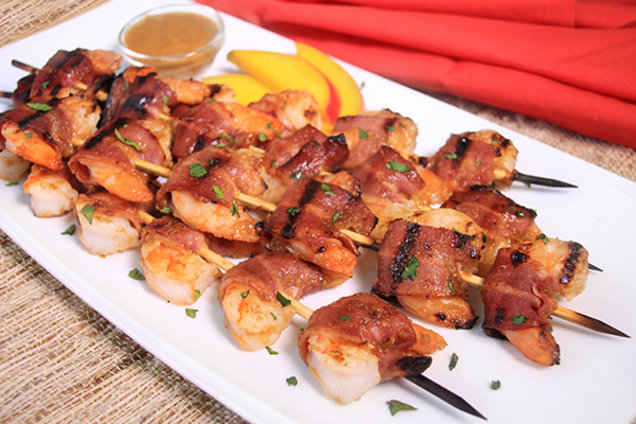 Bacon-Mango Shrimp Skewers