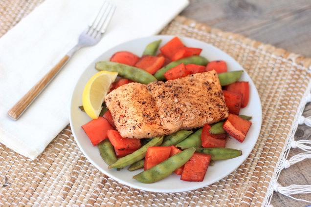 Hungry Girl's Healthy Balsamic Honey Salmon 'n Veggies Recipe