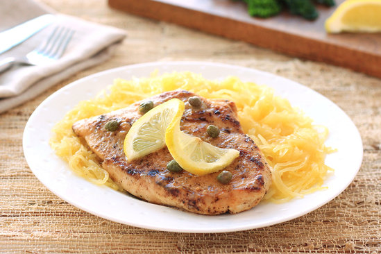 Hungry Girl's Chicken Piccata with Spaghetti Squash