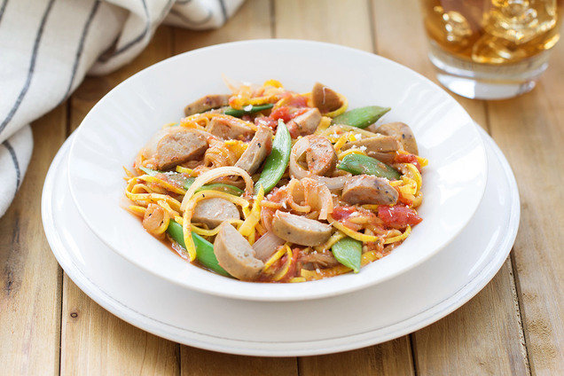 Hungry Girl's Healthy Chicken Sausage 'n Spiralized Veggies Recipe