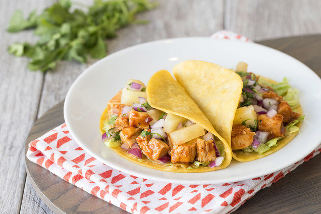 Hungry Girl's Healthy Hawaiian BBQ Chicken Tacos Recipe