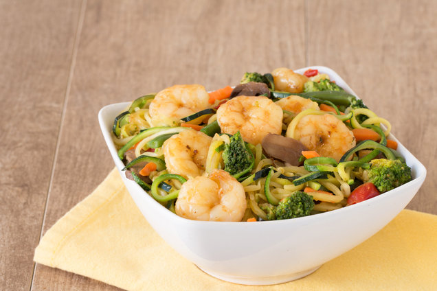 Hungry Girl's Healthy Zucchini-Noodle & Shrimp Stir-Fry Recipe