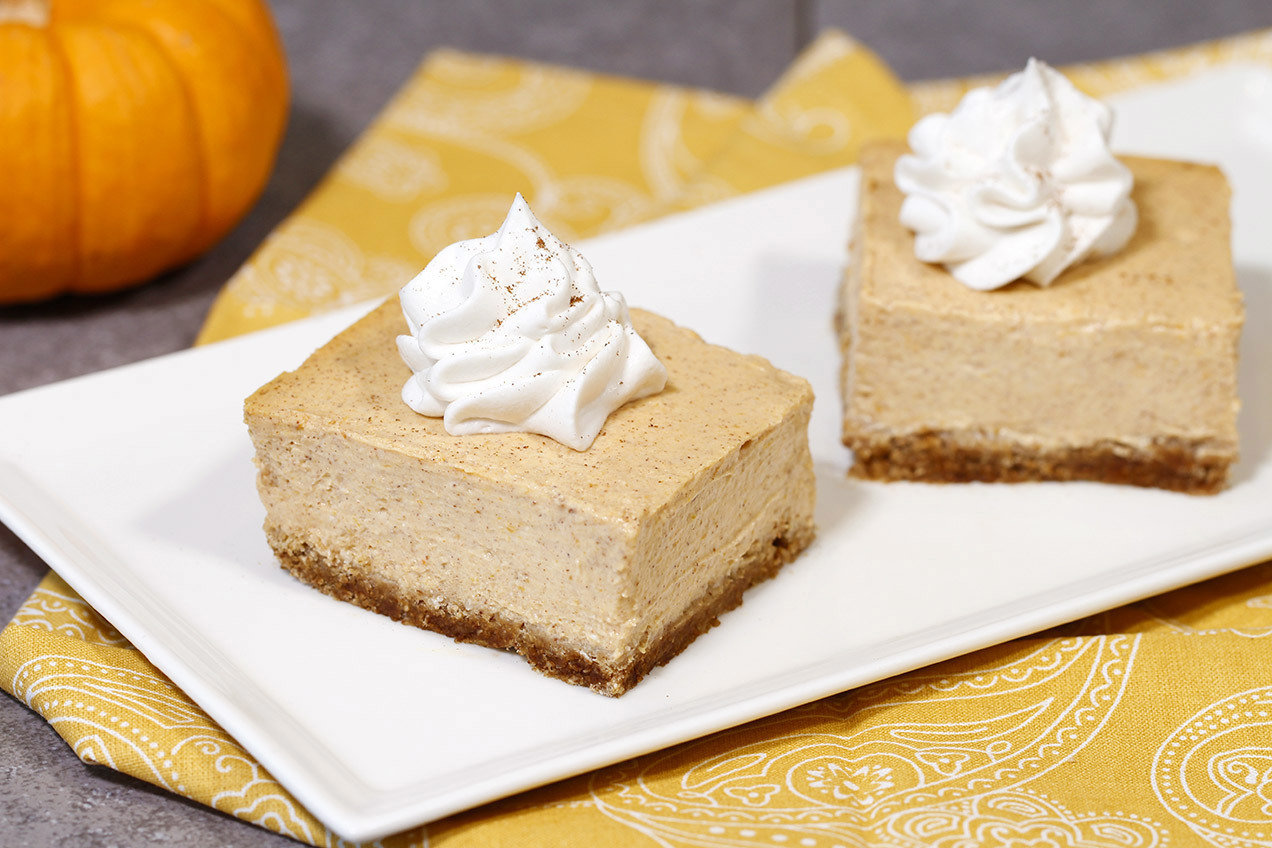 Healthy Pumpkin Cheesecake Bars Hungry Girl