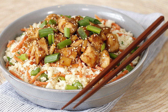 Healthy Teriyaki Chicken Cauliflower Rice Bowl Hungry Girl