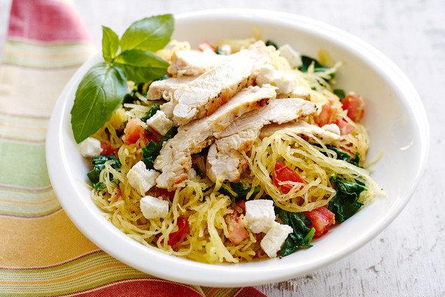 Hungry Girl's Mediterranean Spaghetti Squash with Chicken Recipe