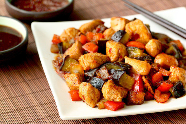 Hungry Girl's Healthy Chicken & Eggplant Teriyaki Stir-Fry Recipe