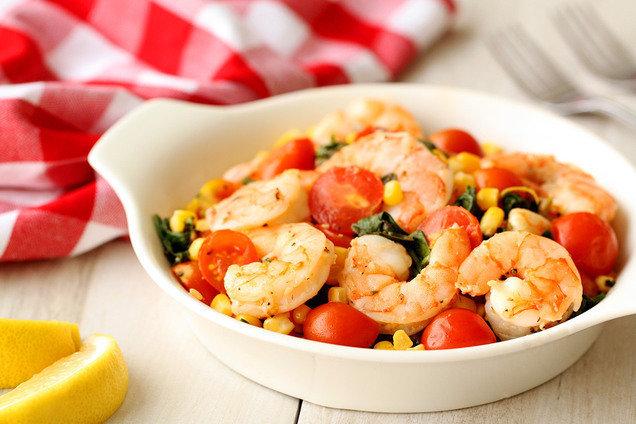 Hungry Girl's Healthy Mediterranean Shrimp & Veggies Recipe