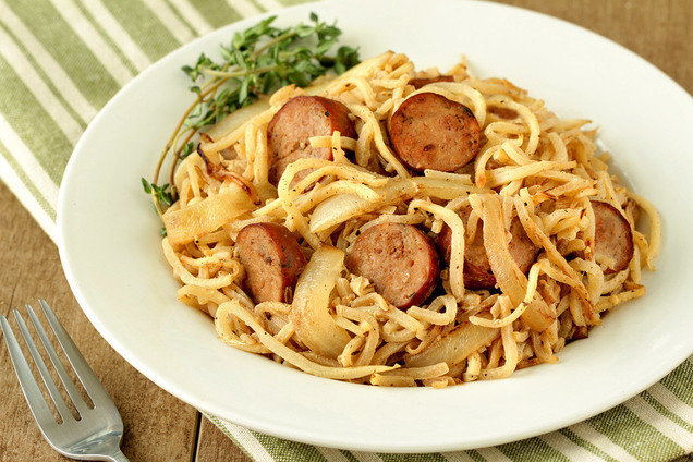 Hungry Girl's Healthy Turnip Noodles & Chicken Sausage Recipe