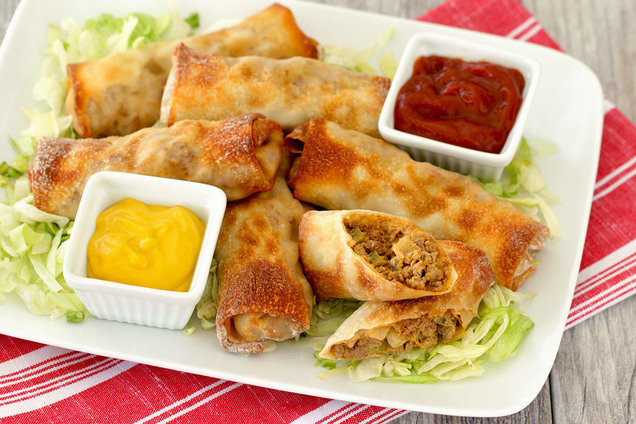 Hungry Girl's Healthy Air-Fryer Cheeseburger Egg Rolls Recipe