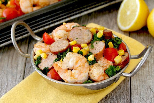 Hungry Girl's Healthy Sheet-Pan Shrimp-Boil Bake Recipe