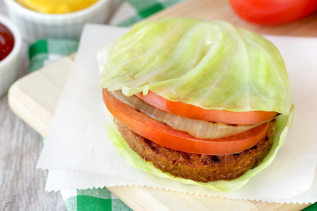 Hungry Girl's Healthy Ginormous Cabbage-Wrapped Burger Stack Recipe