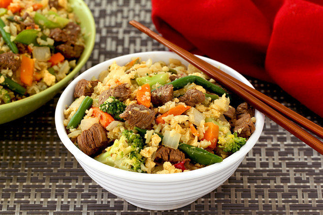 Healthy Beefed Up Cauliflower Fried Rice 3 More Cauliflower Rice Recipes Hungry Girl