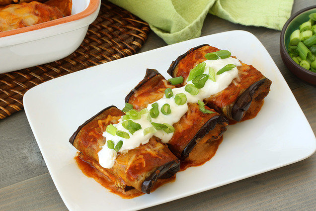 Hungry Girl's Healthy Bean & Cheese Eggplant Enchiladas Recipe