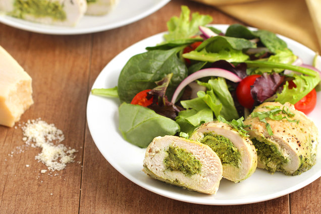 Hungry Girl's Healthy Pesto Parm Stuffed Chicken Recipe