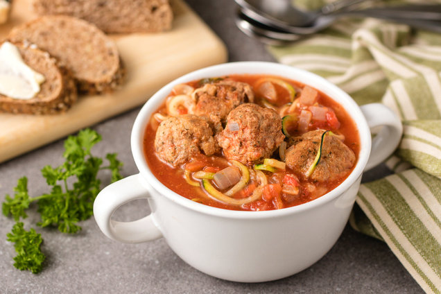 Hungry Girl's Healthy Z'paghetti & Meatball Soup Recipe