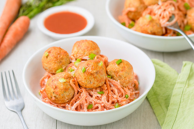Hungry Girl's Healthy Buffalo Chicken Meatballs & Carrot Noodlesp Recipe