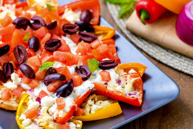 Hungry Girl's Healthy Greek Bell Pepper Nachos Recipe
