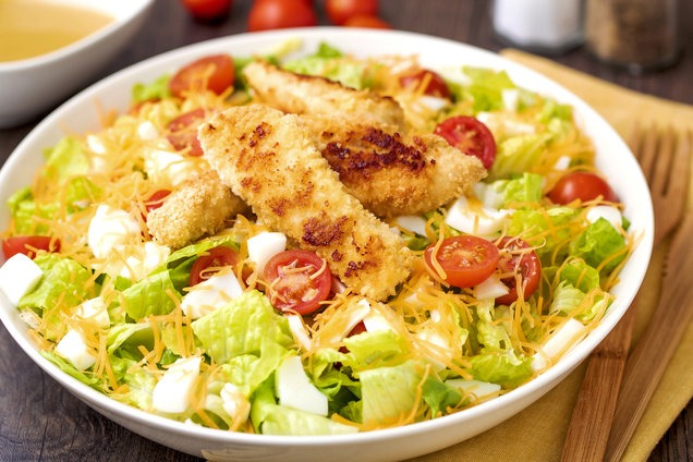 Hungry Girl's Healthy Crispy Chicken Salad with Honey Mustard Dressing Recipe