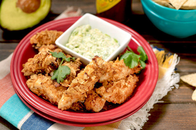 Hungry Girl's Healthy Air-Fryer Mexican Chicken Tenders & Avocado Sauce Recipe