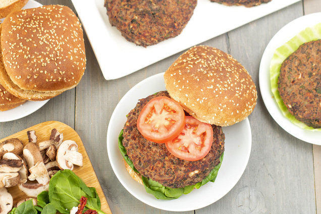Hungry Girl's Healthy Mediterranean Black Bean Burgers Recipe