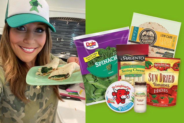 Hungry Girl's Healthy Air-Fryer Cheesy Spinach Wrap Recipe