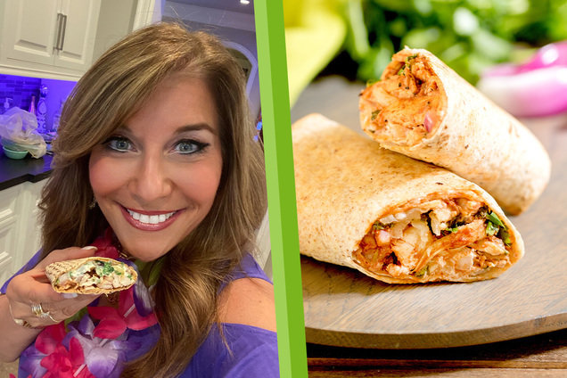 Hungry Girl's Healthy Air-Fryer Hawaiian BBQ Chicken Wrap Recipe