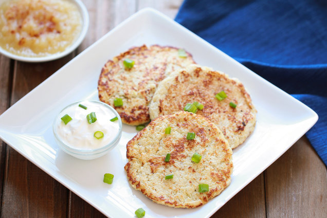 Hungry Girl's Healthy Easy Cauliflower Potato Pancakes Recipe