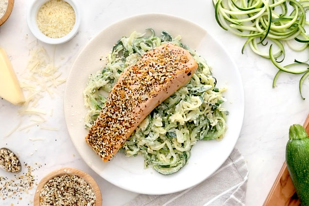 Everything Salmon with Cheesy Zoodles