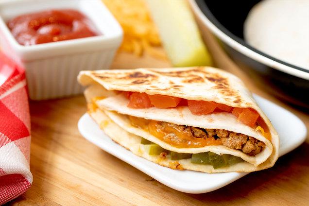 Hungry Girl's Healthy Cheeseburger Quesadilla Snack Hack Recipe