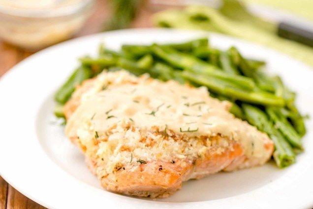 Hungry Girl's Healthy Crispy Creamy Salmon Bake Recipe