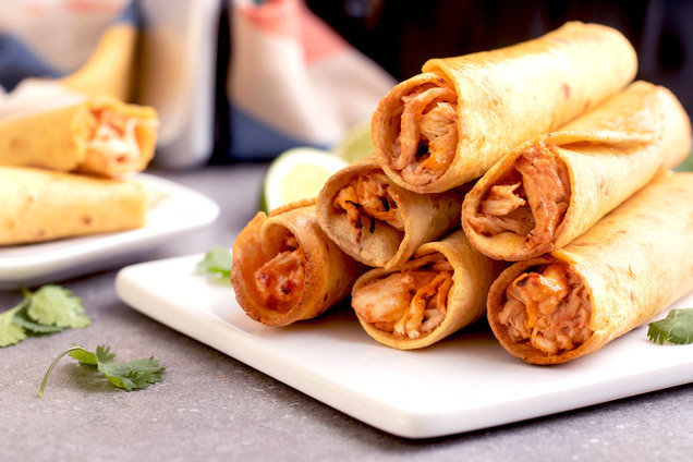 Hungry Girl's Healthy Air-Fryer Cheesy Chicken Taquitos Recipe