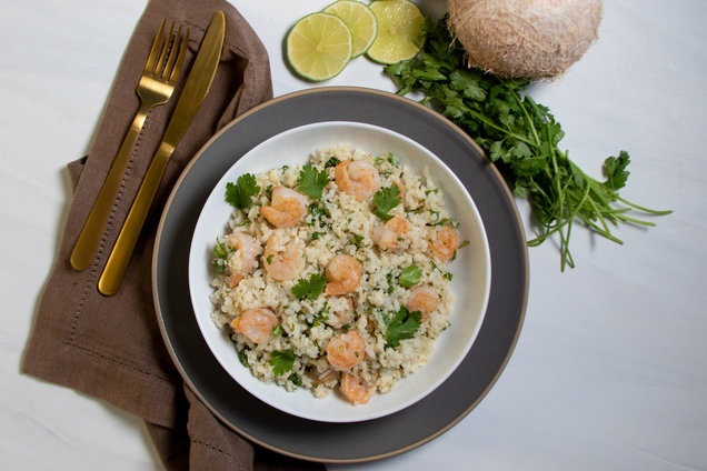 Hungry Girl's Healthy Creamy Coconut Rice with Shrimp Recipe