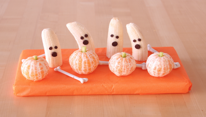 Hungry-Girl Video: Halloween Treats: Banana Ghosts & Tangerine Pumpkins